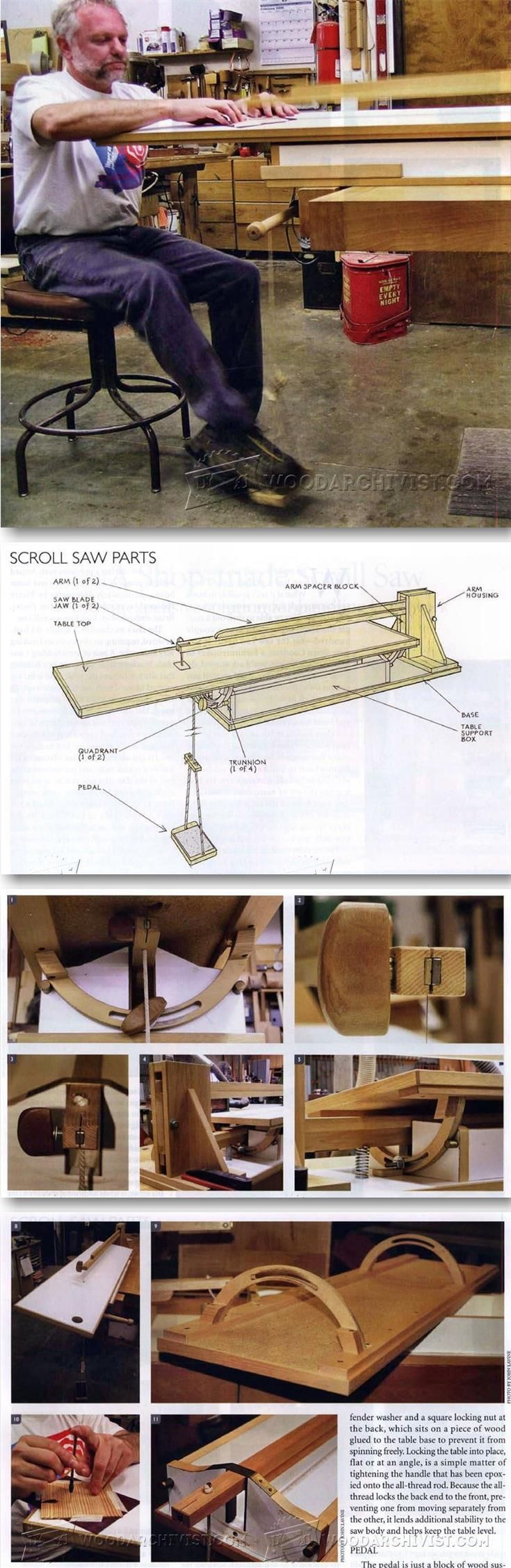 Foot Powered Scroll Saw Plans - Scroll Saw Tips, Jigs and Fixtures | WoodArchivist.com
