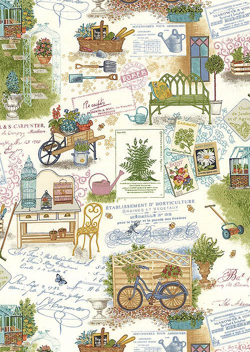 Antique Garden - French Flowers  - Quilt Fabrics from www.eQuilter.com