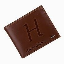 isim yazılı gerçek deri cüzdan , babalar günü hediyesi