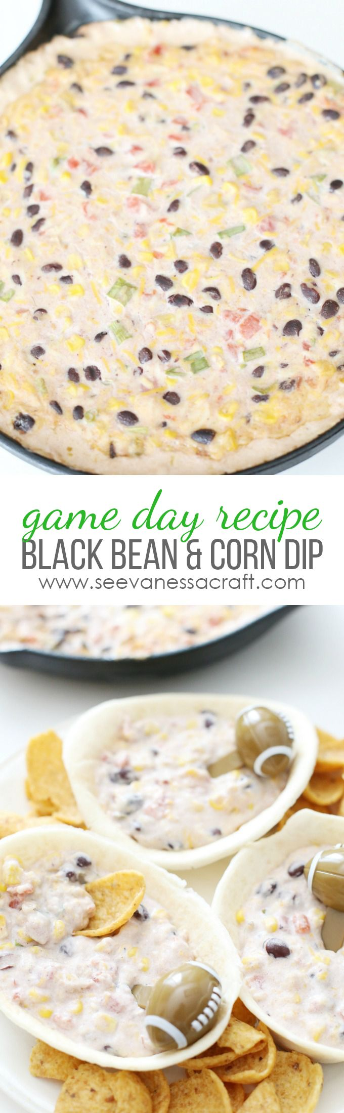 Cheesy Black Bean and Corn Dip Recipe - perfect for a football party or tailgating! #OldElPasoTailgate #ad