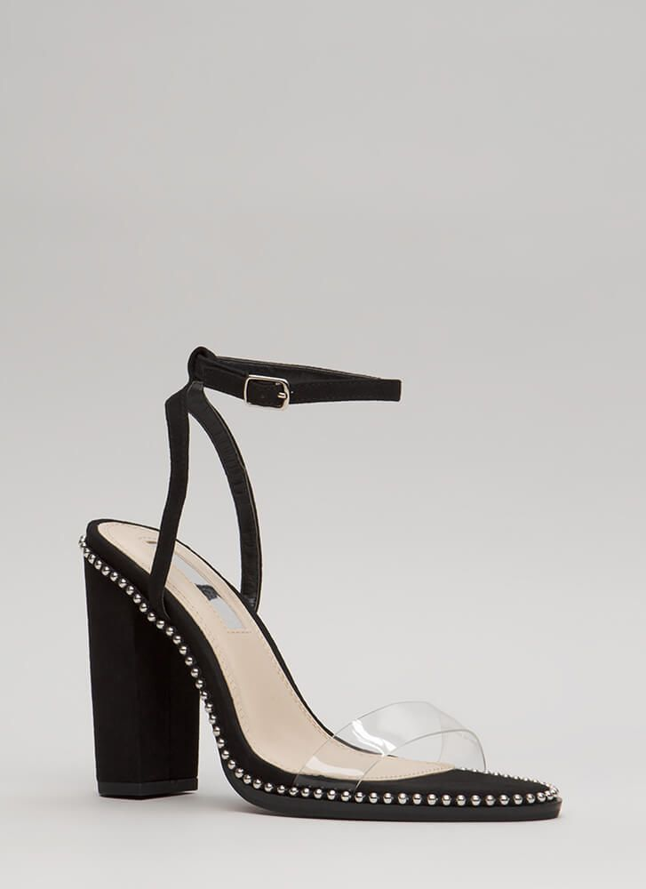 2a2efe7eef Clearly A Stud Chunky Ankle Strap Heels in 2019 | Shoes! | Ankle ...