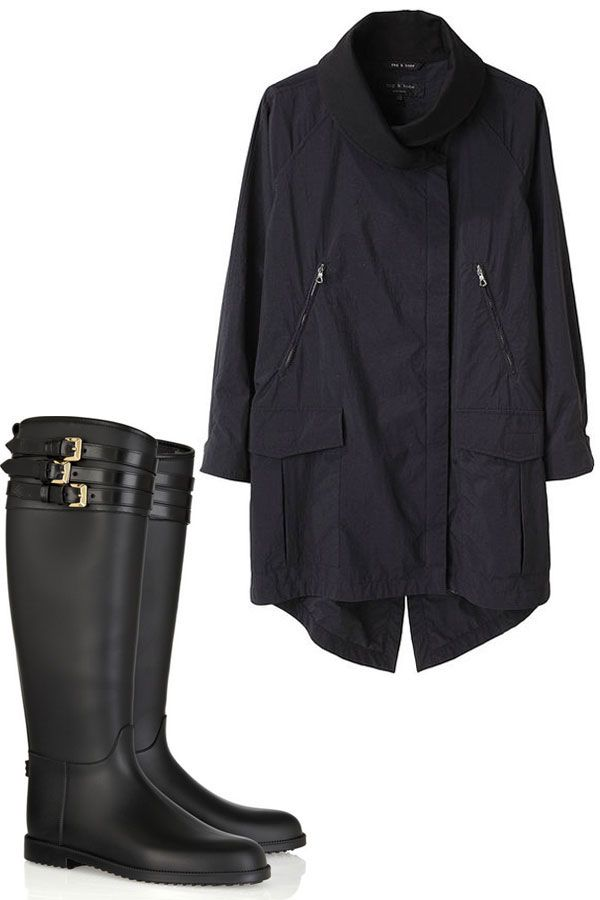 Rag & Bone Raincoat and Burberry Rubber Boots - Stylish Raincoat and Rain Boot Pairings - Harper's BAZAAR
