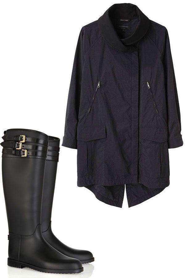 Rag & Bone Raincoat and Burberry Rubber Boots - Stylish Raincoat and Rain Boot Pairings - Harper's BAZAAR