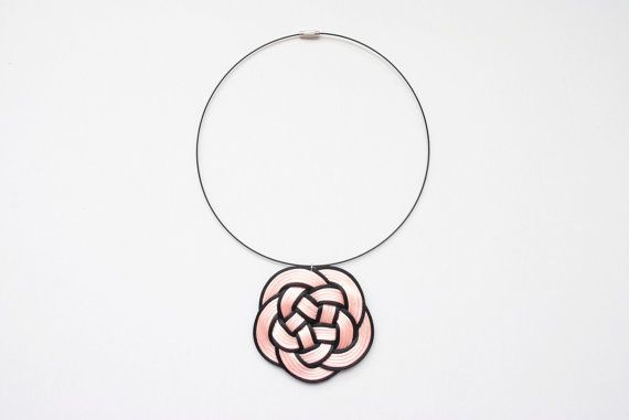 Big flower knot statement necklace pale pink and by elfinadesign