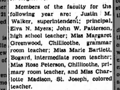 Charlotte Madison, school teacher, news on Aug 26, 1937 on page 20