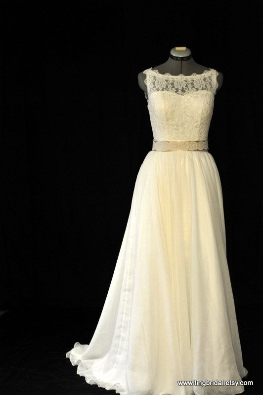 Sweetheart Boat Vintage style lace chiffon wedding dress gown