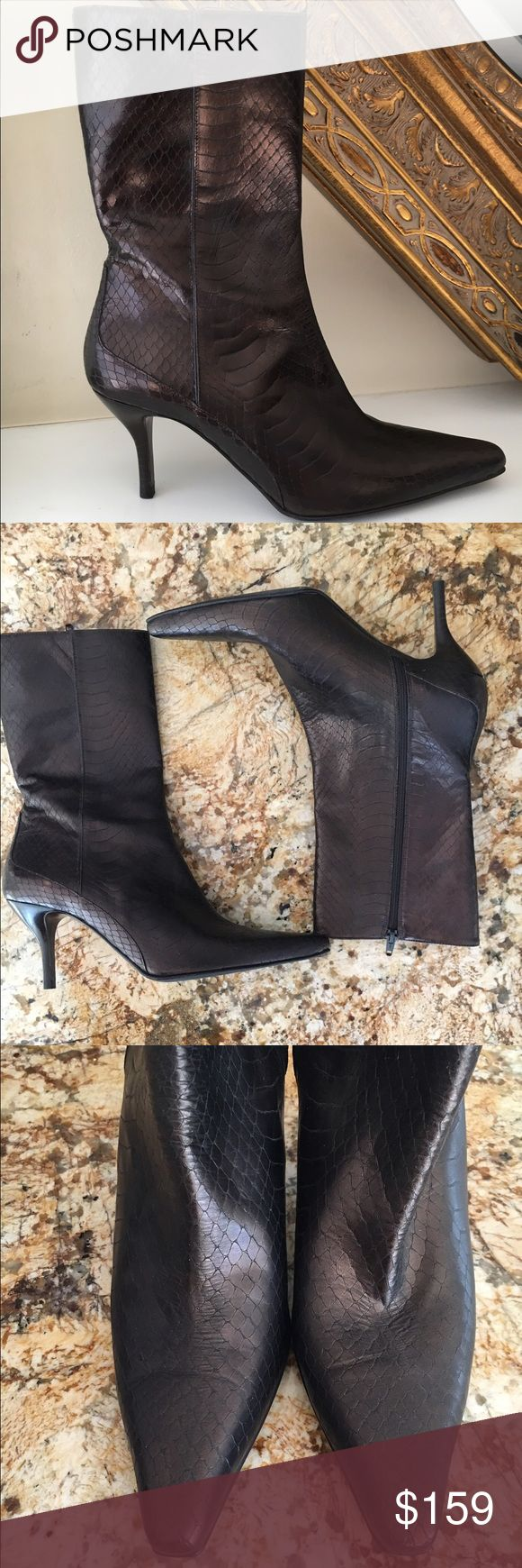 Cole haan brown boots Never worn perfect condition bronze colored snakeskin look size 8 1/2 Cole Haan Shoes Heeled Boots