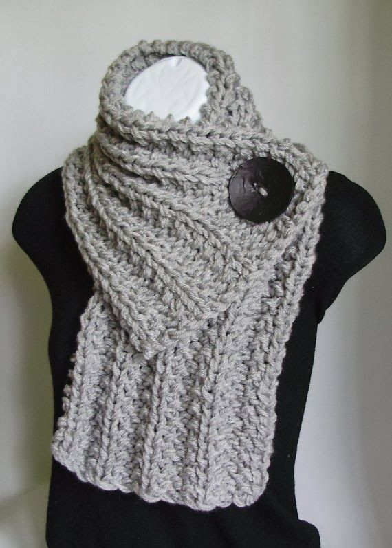 Light Gray Chunky Knit Cowl Scarf with Black Button