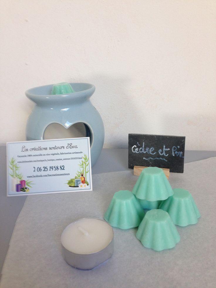 Fondant de cire parfumé cèdre et pin (lot de 5 + 1 bougie chauffe plat) : Soin, bien-être par la-boutique-creation-senteurs
