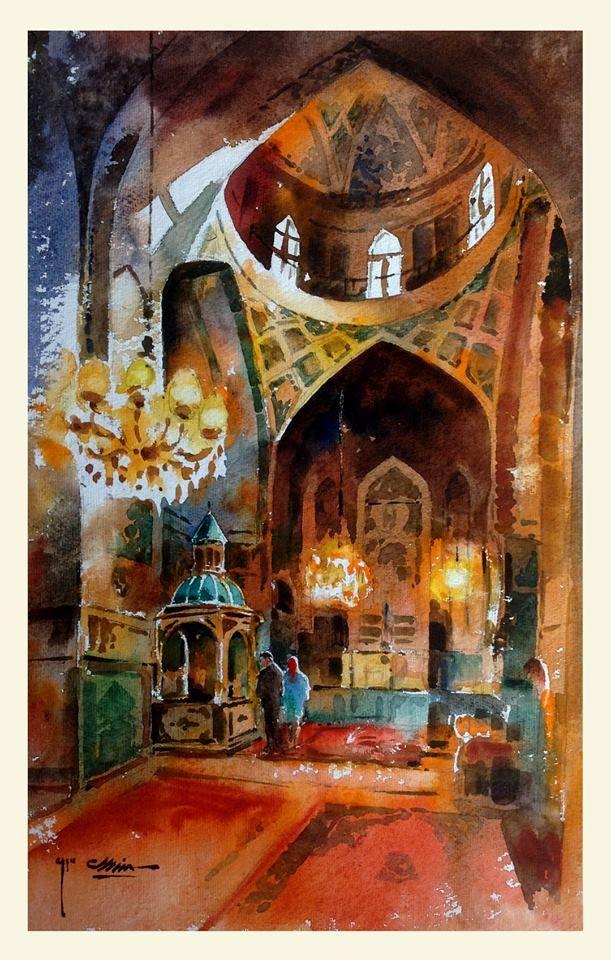 Mahmood Samandarian  Vank church .Isfahan . Iran water color 34 x 56 cm  1393 / 2014