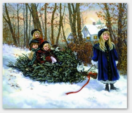 Christmas Memories ~ by Sandra Kuck. This scene was on the front of my Christmas cards one year.  Beautiful!