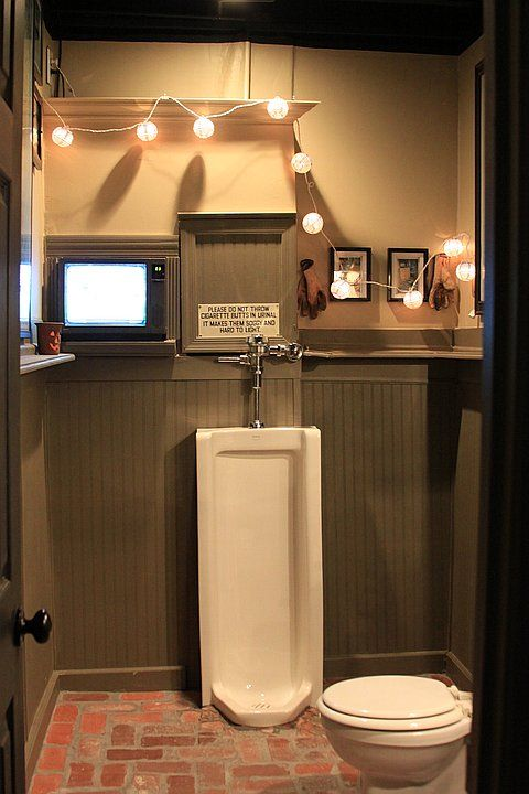 man cave bathroom. gotta have the urinal!
