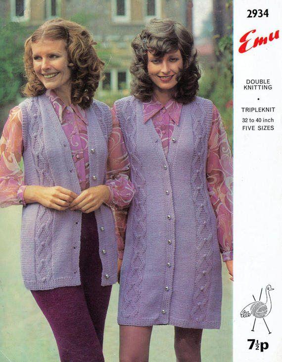 PDF Vintage 1970s Ladies PURPLE Maxi Waistcoat Knitting