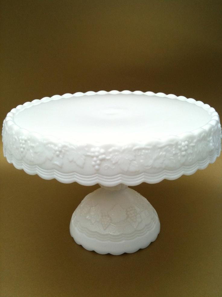 White Milk Glass Cake Stand Uk