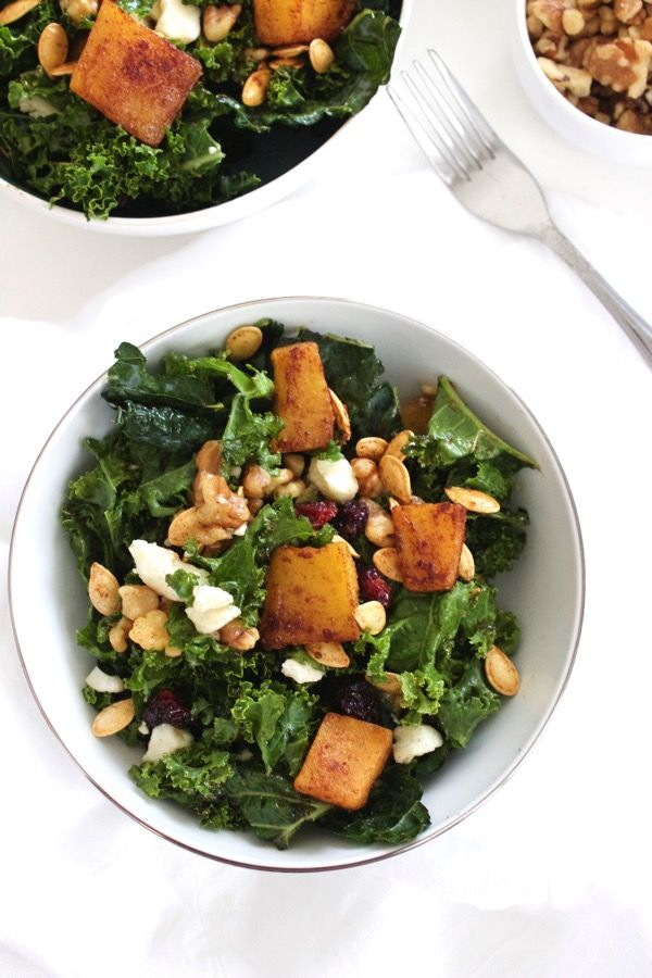 Fall flavors come together in this Fall pumpkin salad. Roasted pumpkin, walnuts, and cranberries atop a bed of kale — a delicious lunch that's good for you too!