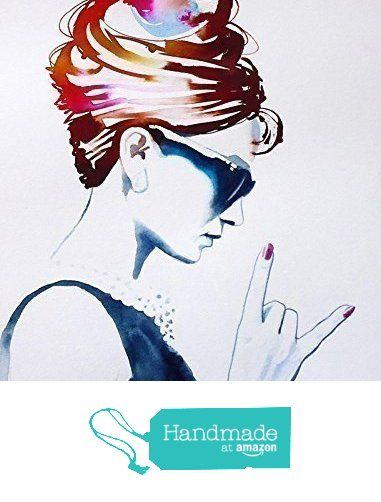 Audrey Rocks Art Print Original Painting Fashion Illustration Vintage 1960s Style Icon Poster from Kimberly Godfrey http://smile.amazon.com/dp/B0157CCJ7C/ref=hnd_sw_r_pi_dp_aS.Lwb0C3165Z #handmadeatamazon
