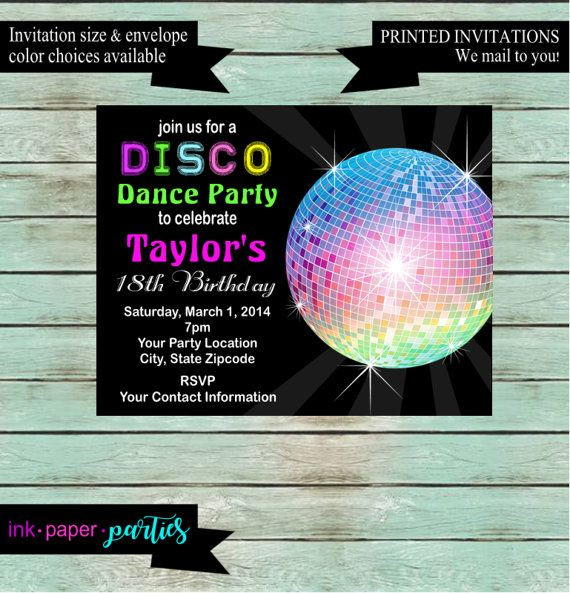 Disco Ball Dance Dancing Retro 70's Birthday by InkPaperParties