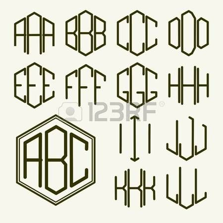 34098091-set-1-template-letters-to-create-a-monogram-of-three-letters-inscribed-in-a-hexagon-in-art-nouveau-s.jpg (450×450)