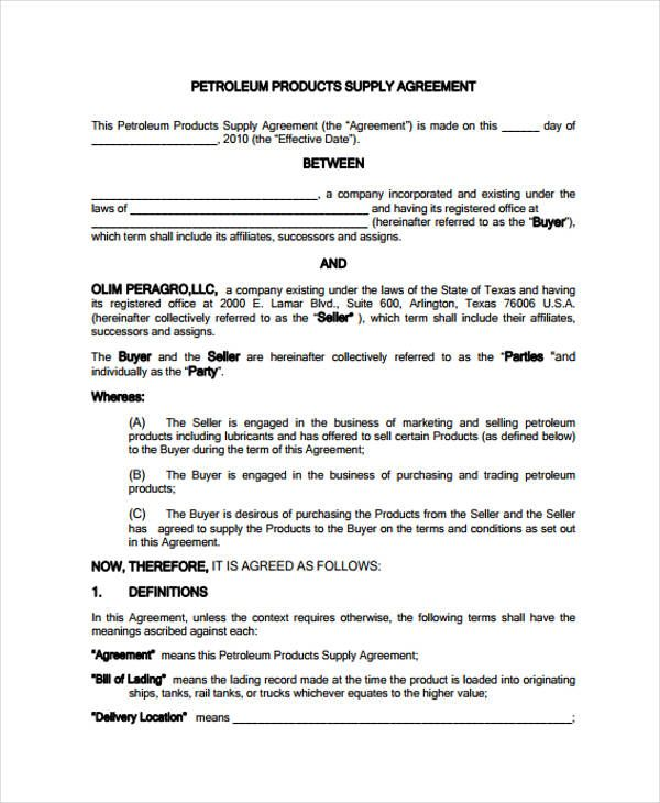 Supply Agreement Template Agreement Templates
