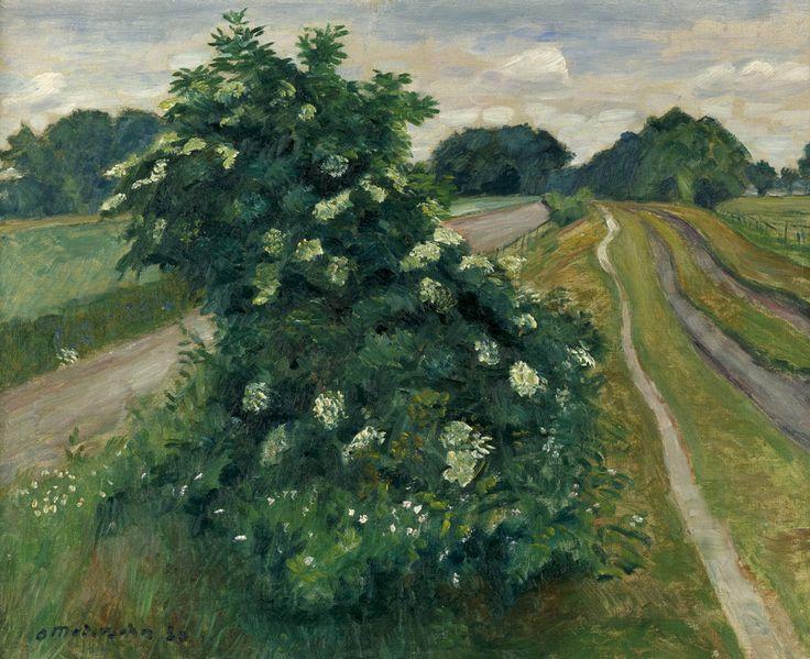 Otto Modersohn (German, 1865-1943), Blühender Holunderbusch [Blooming elder bush], 1930. Oil on canvas, 50.3 x 61 cm.