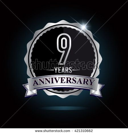 9th anniversary logo with ribbon. 9 years anniversary signs illustration. Silver anniversary logo with ribbon. - stock vector