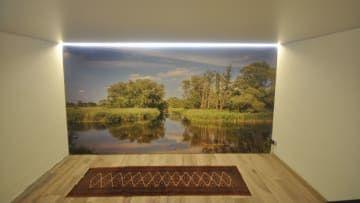 bedruckte Spanndecke als Wandbespannung #wand#decke#renovieren#beleuchtung#wohnen