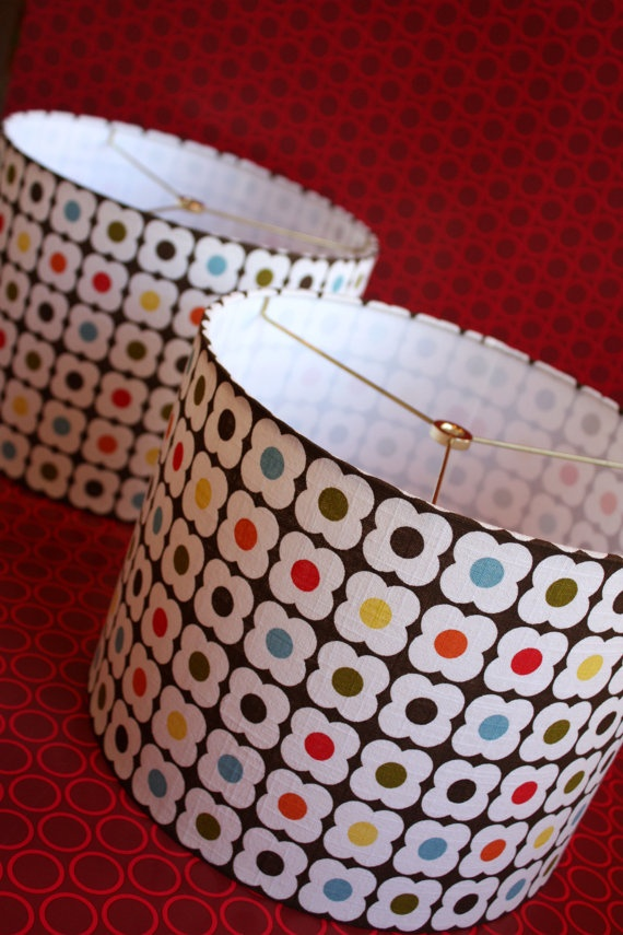 Love these handmade lampshades using Orla Kiely fabric.