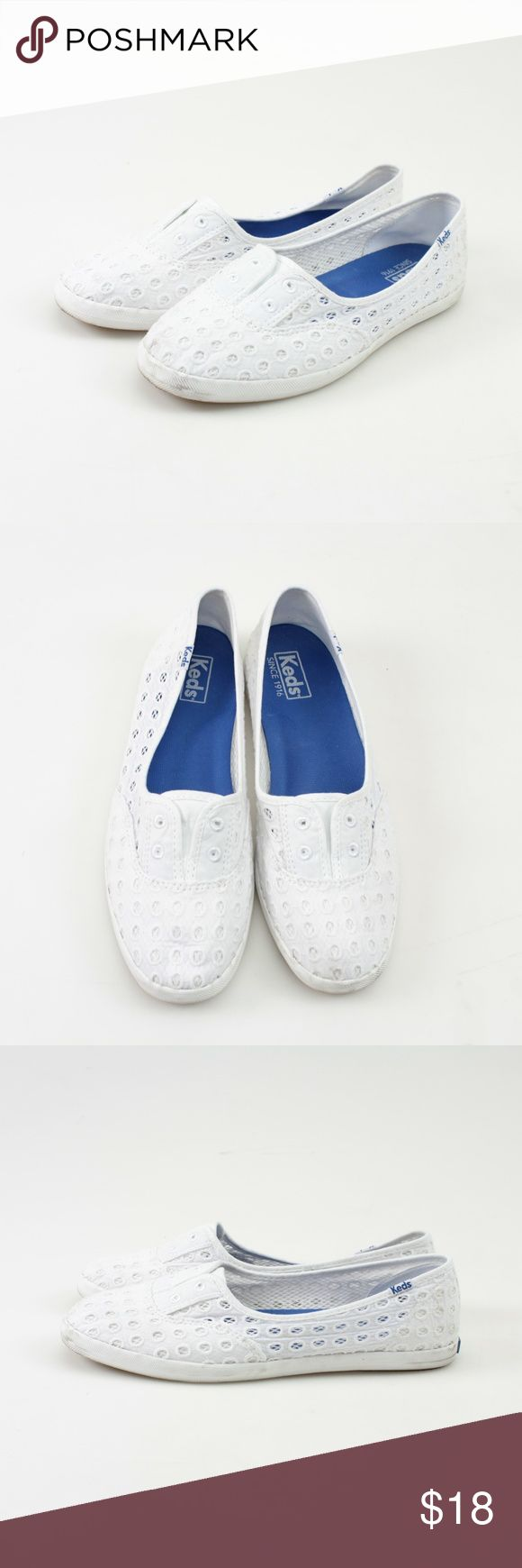Keds White Eyelet Lace Slip On Flat Sneaker // 8.5 Lighten up your springtime with these adorable white shoes from Keds! Soft and delicate eyelet lace Cushioned footbed Rubber sole Slip On style  These shoes have been loved but have a lot of life left!  Only marking on the soles and rubber. See photos for all details. These do come in a box. #10KD18 // Keds // Slip Ons // All White keds Shoes Sneakers
