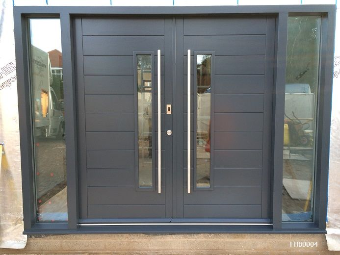 contemporary double doors grey with fingerprint reader