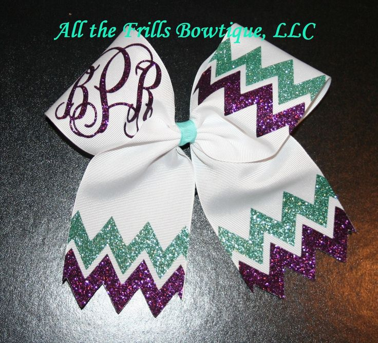 Custom Chevron Glitter Monogram Cheer hair bow - Choose your colors Interlocking Vine Font by AlltheFrillsBowtique on Etsy https://www.etsy.com/listing/222318050/custom-chevron-glitter-monogram-cheer