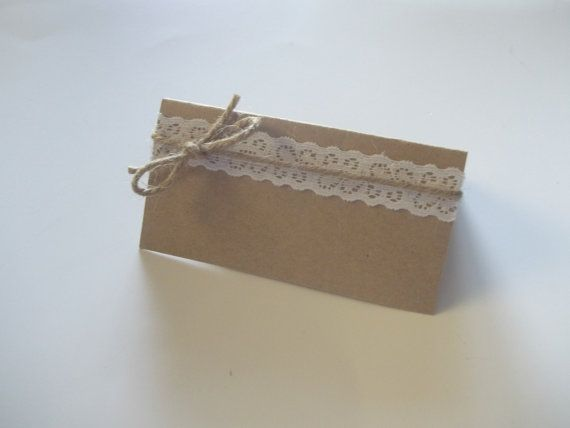 Lace Place cards jute twine Shabby Chic Wedding Vineyard Wedding DIY lace burlap escort cards