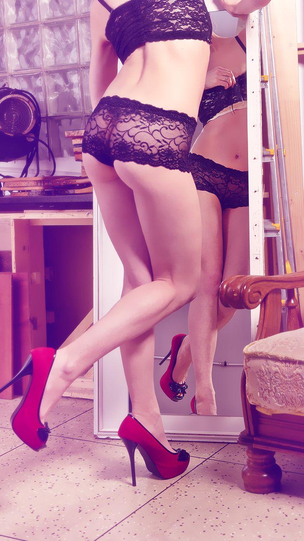 Černé sexy krajkované kalhotky
