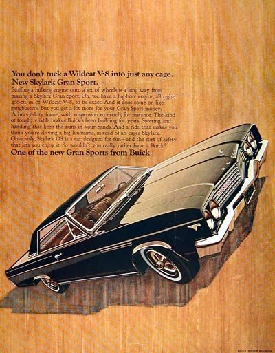 1965 Buick Skylark Gran Sport original vintage advertisement. Illustrated in vivid color. Equipped with the monstrous Wildcat 400 cu. in. big bore V8.
