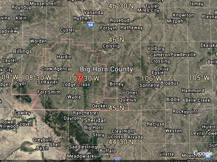 Postcard from Google Earth Miles city, Crow agency, Custer