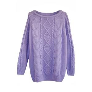 Rhombus Cable Knit Purple Jumper | pariscoming
