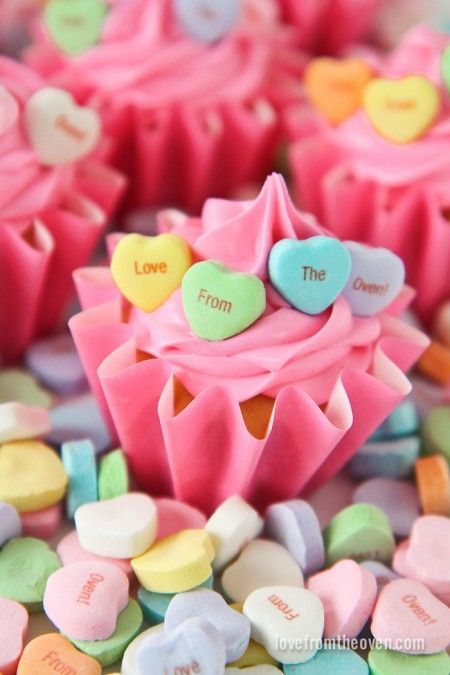 hearts valentine cupcakes with personalized conversation heart candies - Personalized Valentine Candy