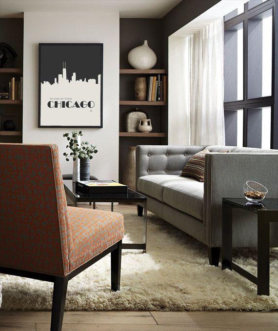 My Kind Of Town / Frank Sinatra - Music Lyric Art Print - home decor, wall decor, modern art, gift idea, Chicago skyline