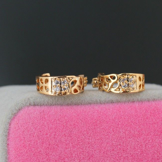 Cheap 1Pair Clear Crystal Zircon 18K Gold Plated Vintage Retro Clover Hollow Wide Hoop Earrings Jewelry Gift for Women Lady Online Shopping | Tomtop