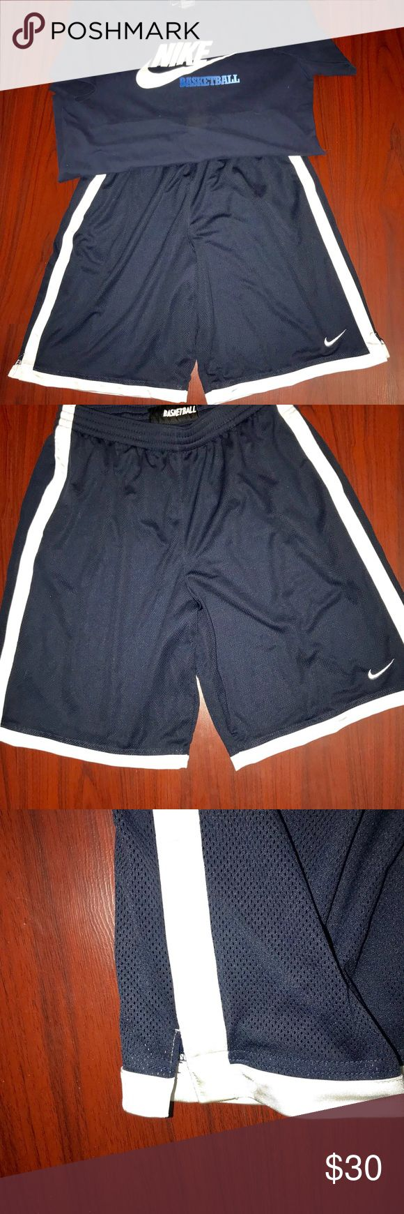 2/$30 NIKE BASKETBALL SHORTS N TEE NIKE BASKETBALL NAVY TEE N NIKE BASKETBALL NAVY ATHLETIC SHORTS WITH WHITE STRIPS SIDE POCKETS DRAWSTRING N SPLITS Nike Matching Sets