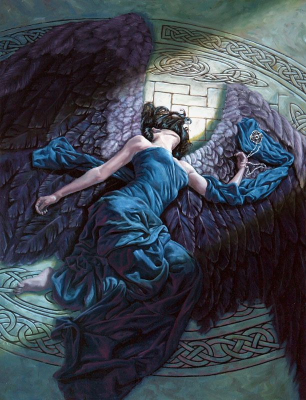 By Michael C. Hayes. Black-winged angels feature heavily in one of my works, so I'm very partial to beautiful paintings like this.