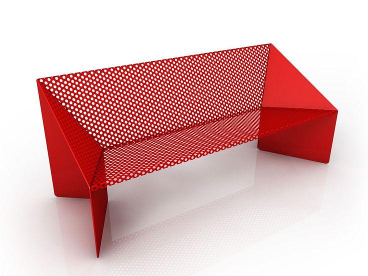 Perforated metal Bench ORIGAMI by GARDA DESIGN design Piter Perbellini