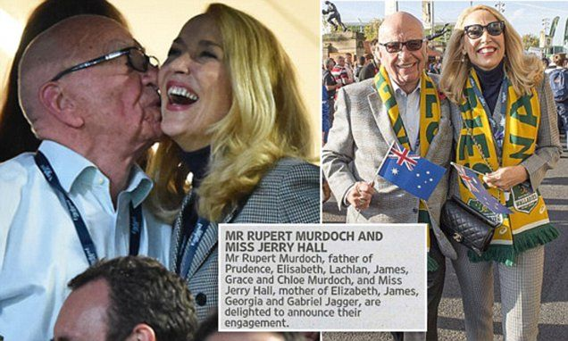 Jerry Hall, 59, and Rupert Murdoch, 84, announce their ENGAGEMENT, congrats, going from rich to richer! Good for her!