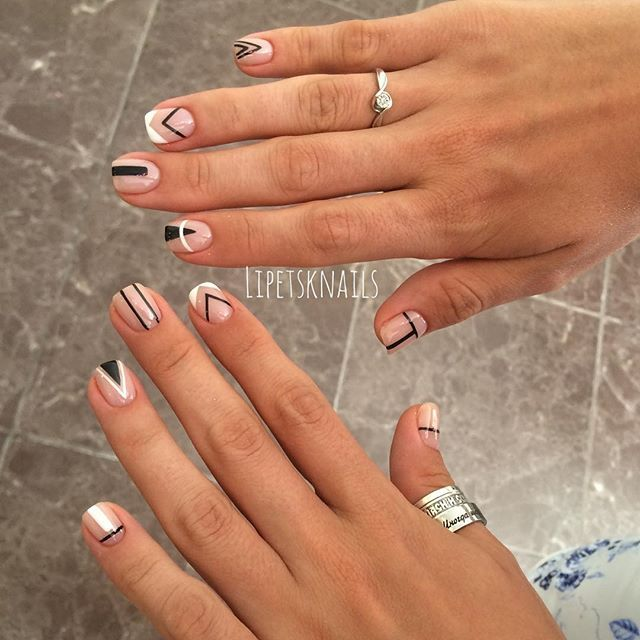 Best 25 geometric nail art ideas on pinterest nail tutorials nude nails with black n white graphics prinsesfo Choice Image