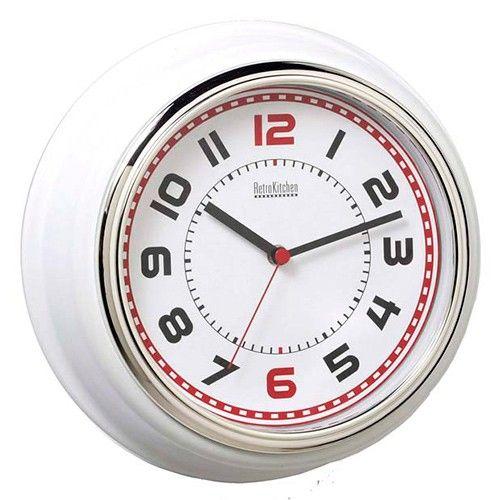 Retro Kitchen Diner Clock - 29cm - White | $44.00 - Milan Direct  Black, too