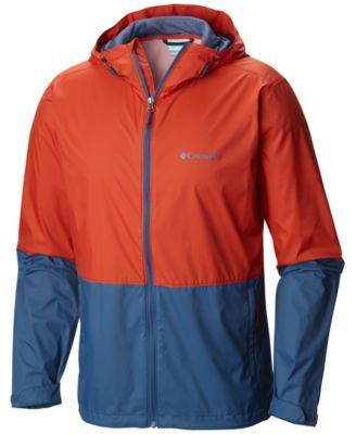 Columbia Men's Roan Mountain Colorblocked Rain Jacket - Gravel, Pe XXL