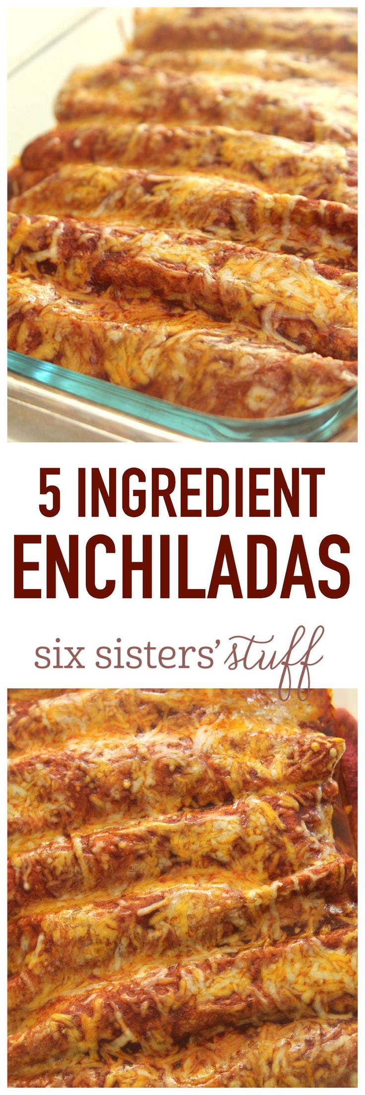 5 Ingredient Enchiladas on SixSistersStuff.com - dinner doesn't get any easier than this!