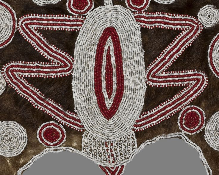 African beaded animal hide artefact.