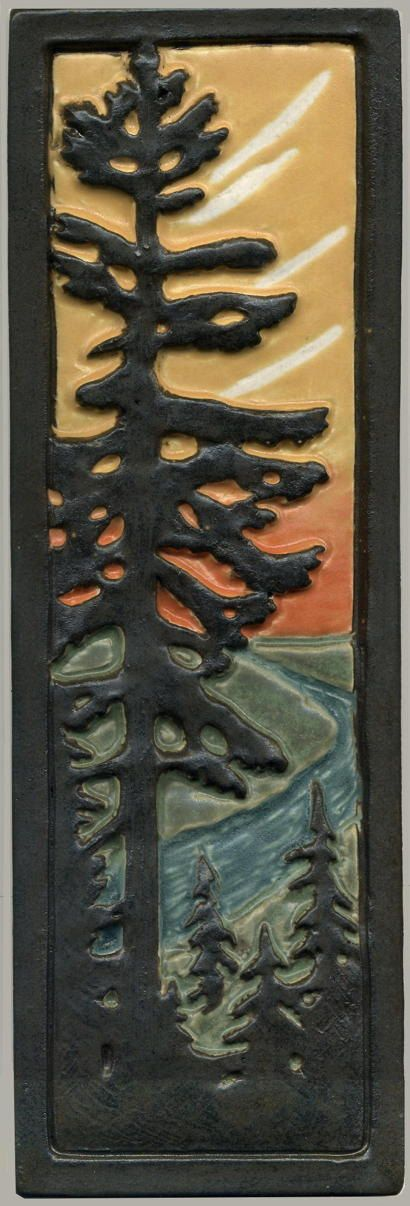 """Craftsman Style Art Tile Solitary Fir / Pine Tree with River at Sunset 12"""" H by…"""