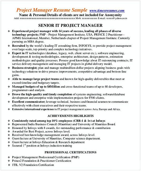 Ab79d2c0003785c56beb6688fa26bac2  Best Project Manager Resume