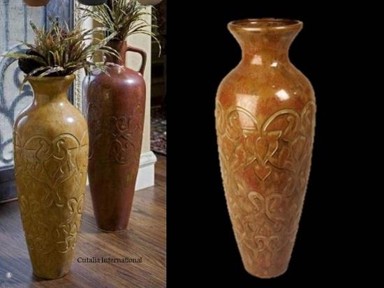 Siboney Tall Gold Ceramic Floor Vase For The Home